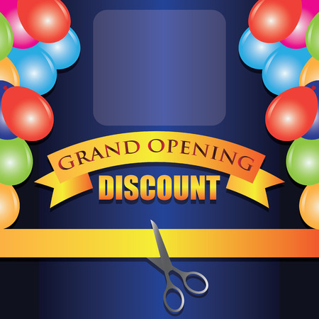 grand opening discount poster. vector illustration