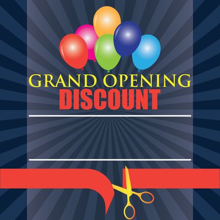 commemorate: grand opening discount poster. vector illustration Illustration