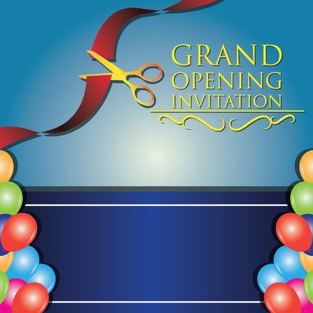 commemorate: grand opening invitation poster. vector illustration