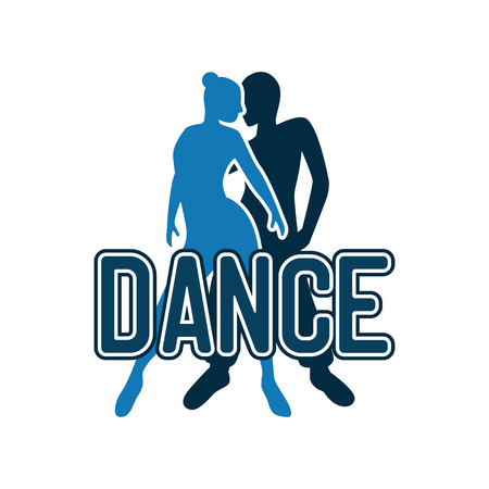 dance logo for dance school or dance studio isolated on white background. vector illustration
