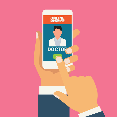 Solicite medicamentos en línea en la aplicación para teléfonos inteligentes. ilustración vectorial