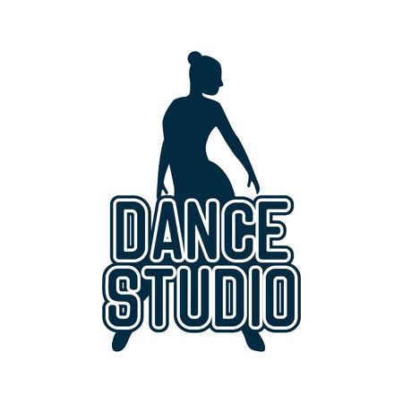 Logotipo de baile para escuela de baile o estudio de baile aislado sobre fondo blanco. ilustración vectorial