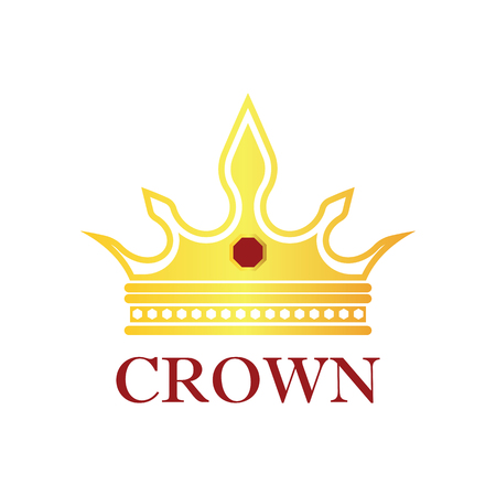 queen crown logo, vector illustration