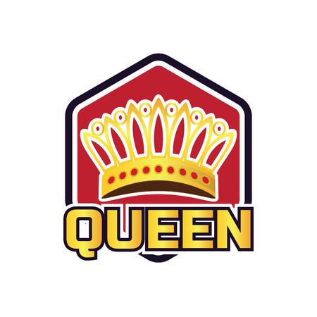 queen crown logo, vector illustration Archivio Fotografico - 123252198