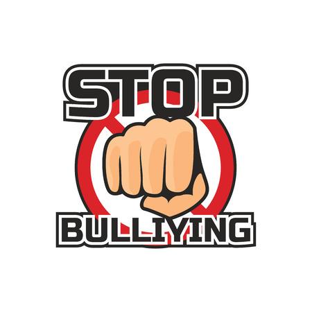 fermare il bullismo, nessun logo di bullismo, illustrazione vettoriale