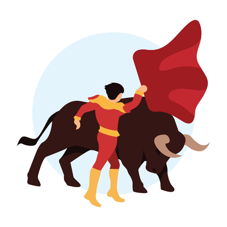 bullfighter awaiting for the bull in the bullring. bull fighting concept. vector illustration Vettoriali