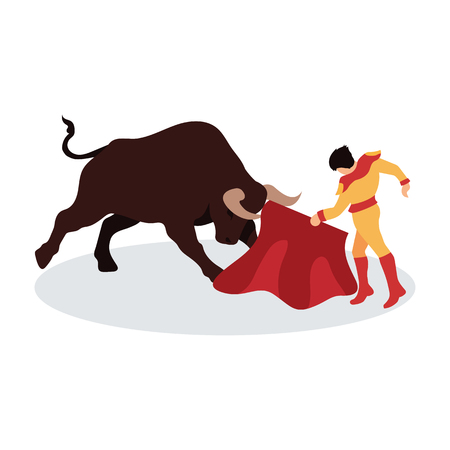bullfighter awaiting for the bull in the bullring. bull fighting concept. vector illustration Illusztráció