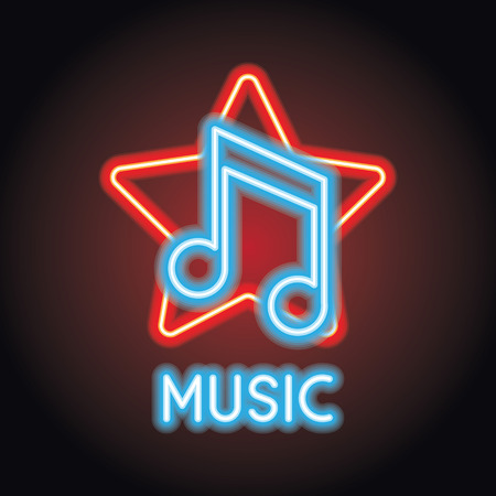 music logo with neon sign effect for world music day. vector illustration