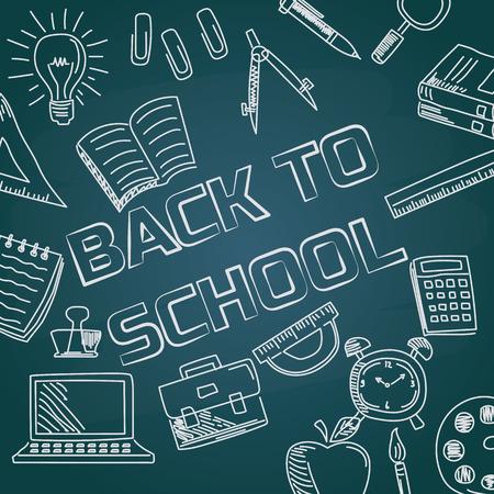 powrót do szkoły z czcionką kredową na tablicy