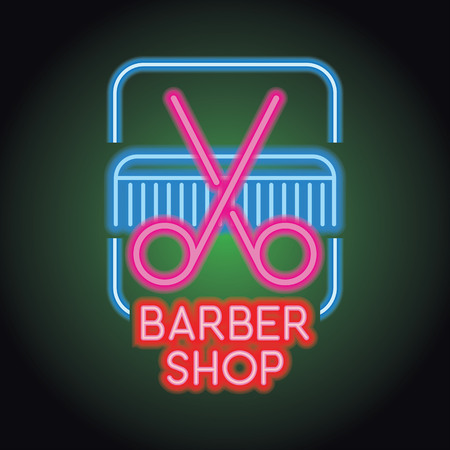 barber shop logo with neon light effect. vector illustration