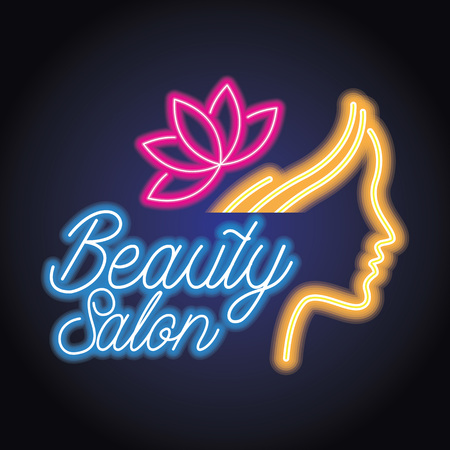 beauty salon logo with neon light effect. vector illustration