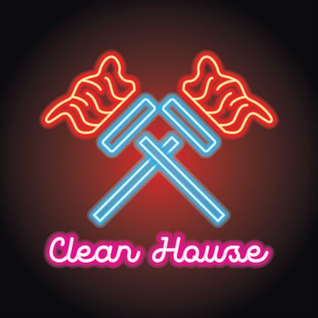 Logotipo de servicio de limpieza para el hogar y la oficina con efecto de luz de neón. ilustración vectorial
