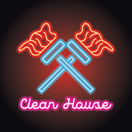 cleaning service logo for home and office service with neon light effect. vector illustration Illustration