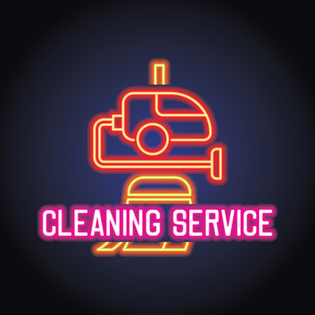 cleaning service logo for home and office service with neon light effect. vector illustration Stock Illustratie