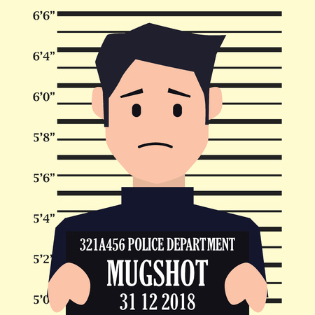 mugshot criminal line with centimeter scale background. vector illustration