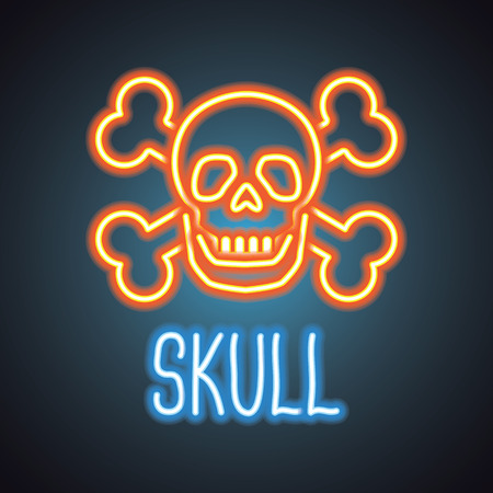 skull logo with neon sign effect. vector illustration
