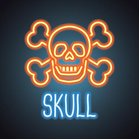 skull logo with neon sign effect. vector illustration