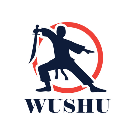 wushu with a weapon logo isolated on white background. vector illustration Logo