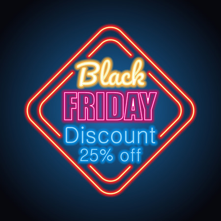 black friday day sale with neon sign effect for black friday day event. vector illustration