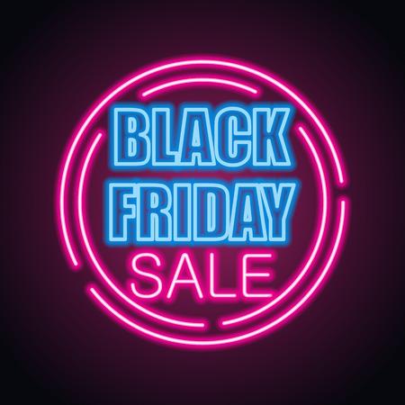 Black Friday Day Sale mit Neonzeicheneffekt für Black Friday Day Event. Vektor-Illustration