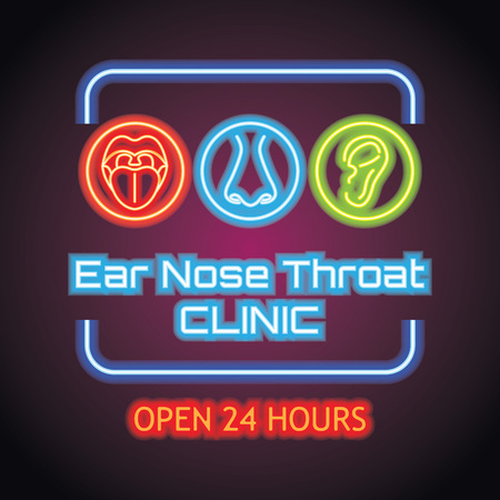ear nose throat (ENT) neon sign plank for Otolaryngologists  clinic concept. vector illustration