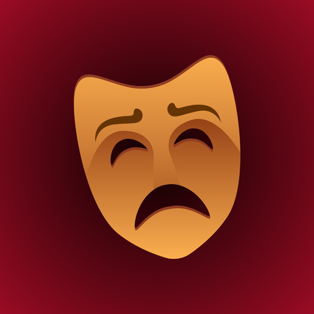 theatrical mask sad expression. vector illustration