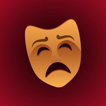 theatrical mask sad expression. vector illustration