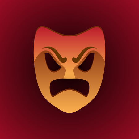 theatrical mask angry expression. vector illustration Illustration