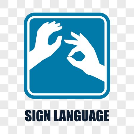 hand with sign language gesture on transparent background. vector illustration