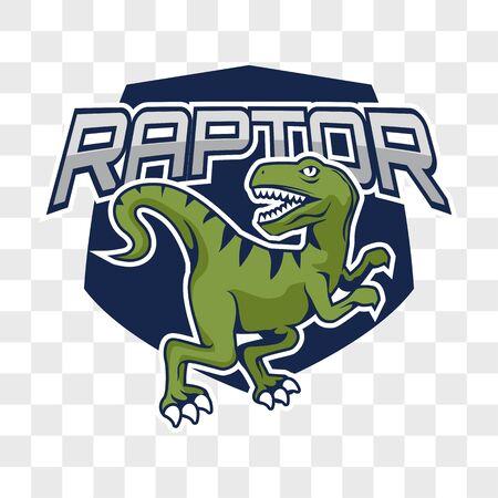 raptor dinosaur isolated on transparent background. vector illustration