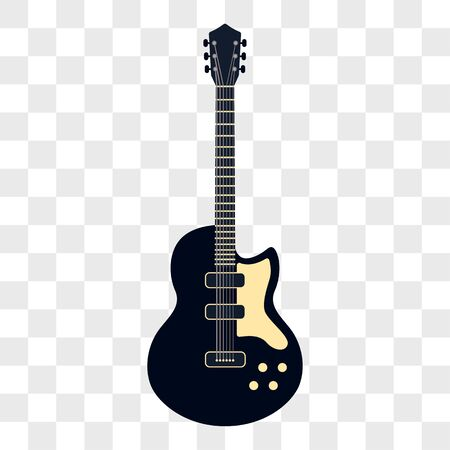 acoustic guitar musical instruments isolated on transparent background. vector illustration