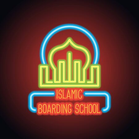 islamic school neon sign plank for islamic international school, islamic private school and boarding school. vector illustration