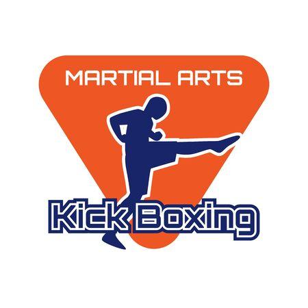 kick boxing martial art isolated on white background. vector illustration Illustration