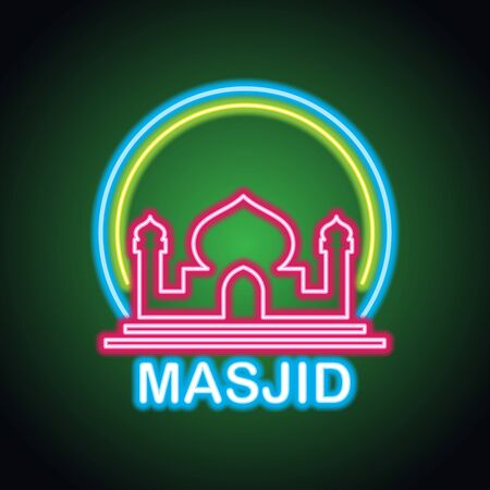 masjid or islamic centre neon sign for Muslims Pray. vector illustration