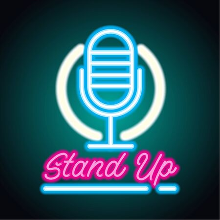 stand up neon sign for stand up comedy advertisement. vector illustration