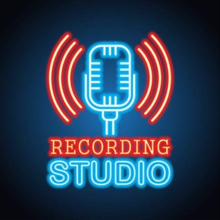 recording music studio neon sign for music studio or recording studio plank banner. vector illustration