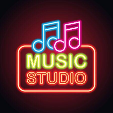 music studio neon sign for music studio or recording studio plank banner. vector illustration Illustration