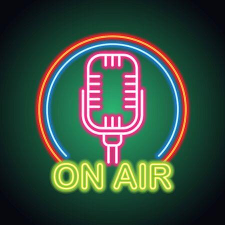 on air music studio neon sign for music studio or recording studio plank banner. vector illustration