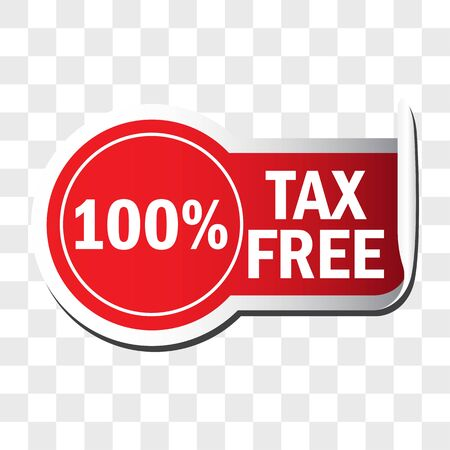 100 percentage tax free sticker isolated on white background. vector illustration