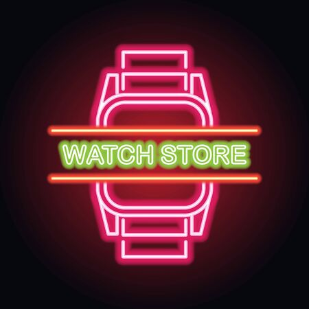 man and woman watches store neon sign for watcher maker and store plank banner. vector illustration