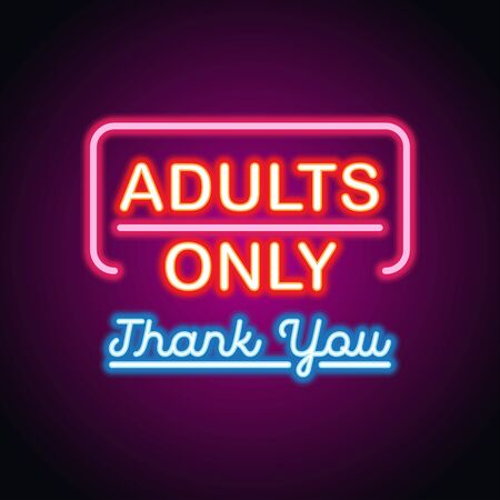 adults only glowing box for outdoor  business advertising neon sign billboard. vector illustration