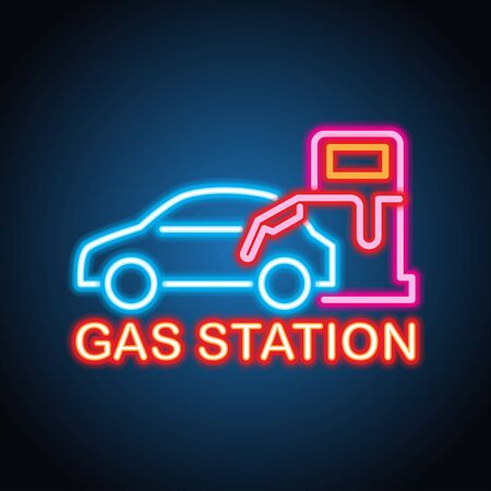 gas petrol station neon sign for gas petrol station plank Vector Illustration
