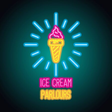 ice cream neon sign for ice cream advertisement. vector illustration