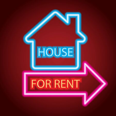 house home for sale neon sign for house for sale plank Illustration