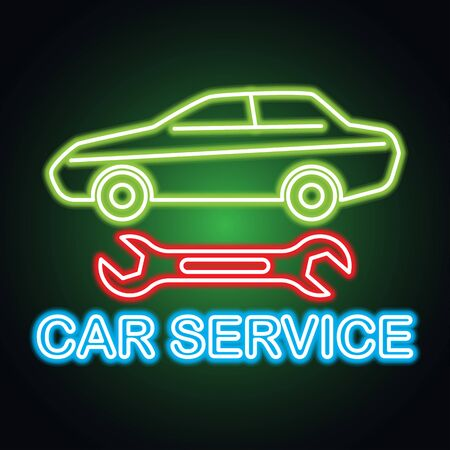 car service and rental neon sign for business. vector illustration