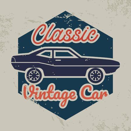 vintage car emblem icon isolated on white background. vector illustration