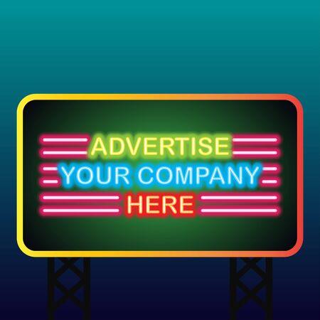 neon sign billboard for outdoor advertising glowing box. vector illustration Illustration