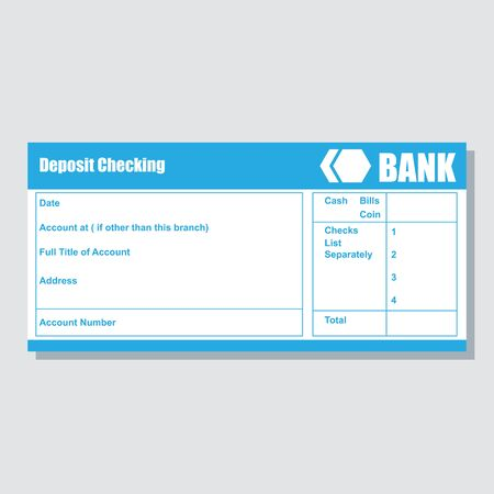 deposit cheking account pass book bank payment paper slip with text space to add your identity and amounts. vector illustration