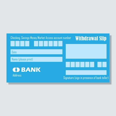 checking or saving account number bank payment paper slip with text space to add your identity and amounts. vector illustration 일러스트
