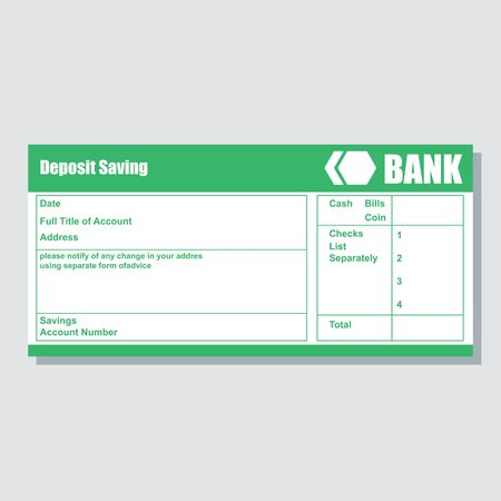 deposit saving account bank payment paper slip with text space to add your identity and amounts. vector illustration